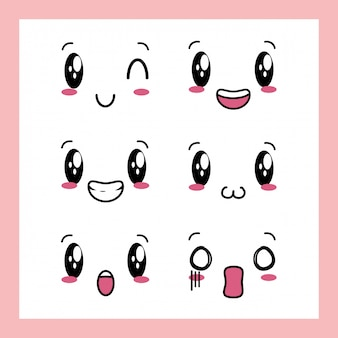 かわいい表情の6つのデザインのセット