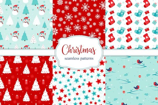 Набор из 6 различных рождественских бесшовных узоров.