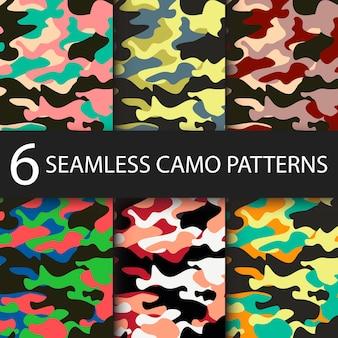 검은 그림자와 함께 6 팩 위장 원활한 패턴 배경의 집합입니다. 클래식 의류 스타일 마스킹 카모 반복 인쇄. 숲 질감의 밝은 색상. 벡터 일러스트 레이 션 웹 디자인 및 옷입니다.