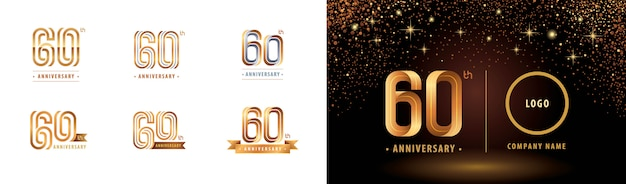 60周年記念ロゴタイプデザインのセット、60周年記念周年ロゴ