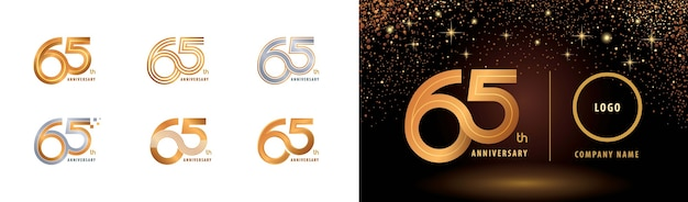 Набор дизайна логотипа 65-летия, многострочный логотип sixty five year celebrate anniversary.