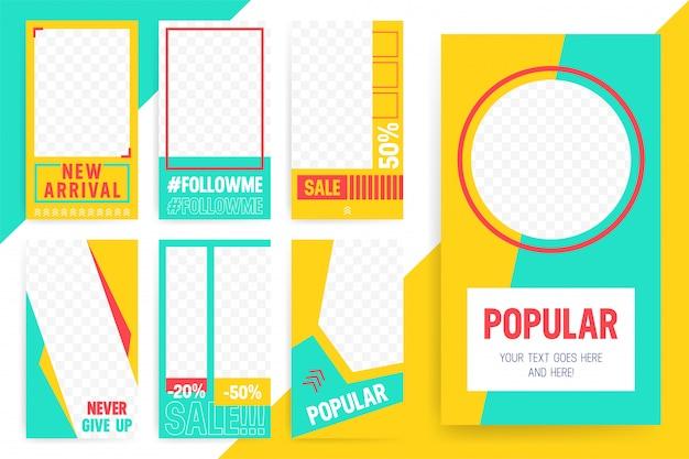 Набор из 7 ярких шаблонов для историй и потоков. модный спортивный стиль цвета.