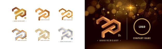 Набор логотипа 70-летия празднование 70-летия 70-летия hexagon infinity logo