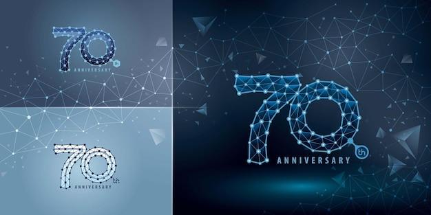 Набор дизайна логотипа 70-летия семидесятилетний юбилейный логотип для технологии network connecting dot