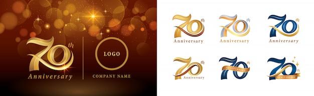 Набор дизайна логотипа 70-летие, логотип празднования семидесятилетия