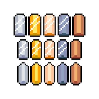 8ビットピクセルグラフィックアイコンのセット。孤立したベクトル図。ゲームアート。貴重なインゴット。