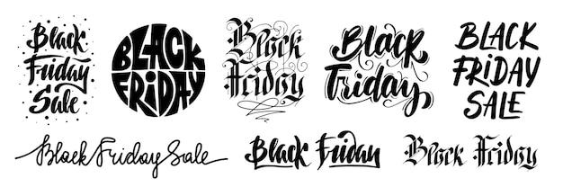 Набор из 8 надписей черная пятница продажа