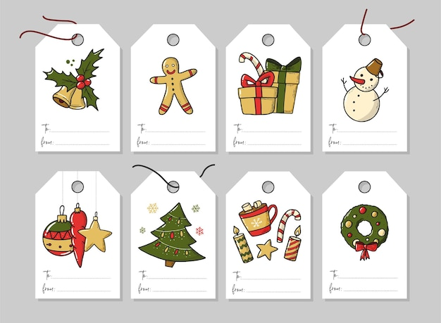 8つのクリスマスラベルとタグのセット