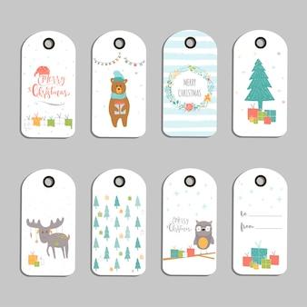 8つのかわいいクリスマスギフトタグ、メリークリスマスのレタリングが付いたカード、動物、プリセット、木、雪片のセット。簡単に編集できるテンプレート。はがき、ポスター、バッジ、バナーの完璧なイラスト。