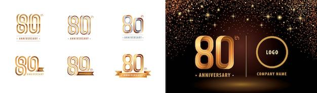 Набор из 80-летия логотипа дизайн, восемьдесят лет праздновать юбилей логотип