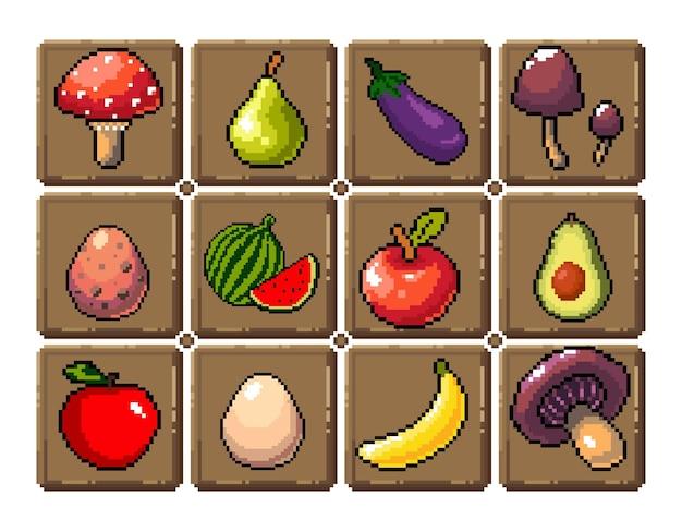 Набор иконок 8-битной пиксельной графики отдельные векторные иллюстрации фрукты, эликсир, зелья, грибы