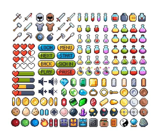 8ビットピクセルグラフィックアイコンのセット孤立したベクトルイラストゲームアート武器ジュエリーポーション