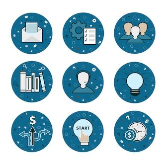 Набор 9 деловых и денежных иконок - вектор синий плоский стиль