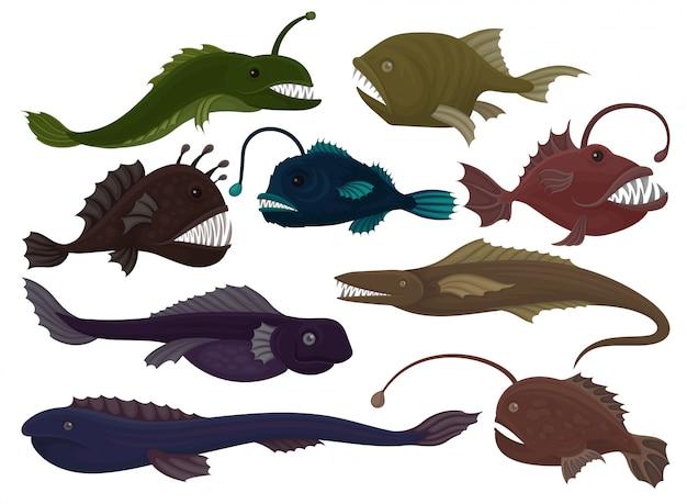 9 가지 육식 물고기 세트. 바다 생물. 해양 동물. 수중 생활 테마. 책 또는 모바일 게임을위한 그래픽 요소. 다채로운 평면 일러스트 흰색 배경에 고립입니다.