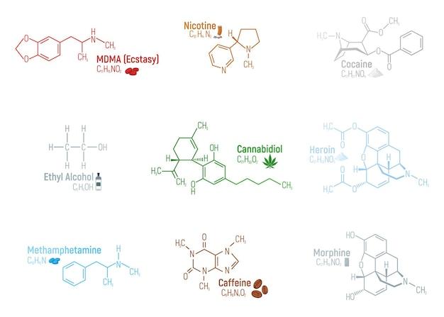 9 마약 화학 공식 세트