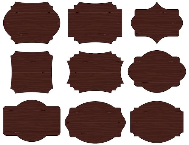 9 빈티지 모양 나무 사인 보드 세트. 삽화