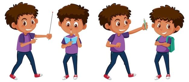 다른 활동을 하는 소년 만화 캐릭터 세트