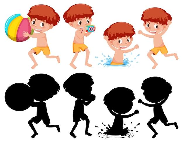そのシルエットとさまざまな位置に男の子の漫画のキャラクターのセット