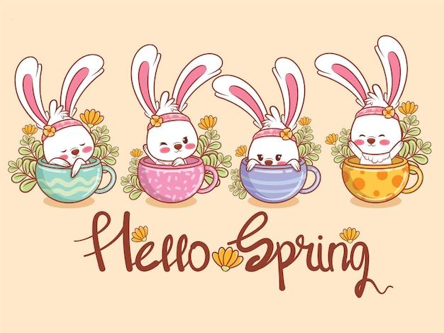 Набор милый зайчик с цветочной чашкой на весну. иллюстрация персонажа из мультфильма привет весенняя концепция.