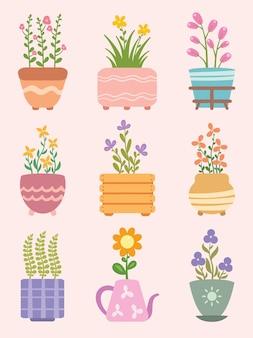 Набор милых комнатных растений в горшках с цветами плоский дизайн