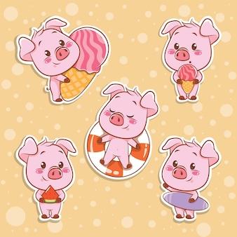 귀여운 돼지 여름 스티커 개념 세트
