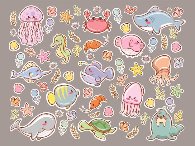 귀여운 바다 동물 스티커 만화 캐릭터와 일러스트 세트