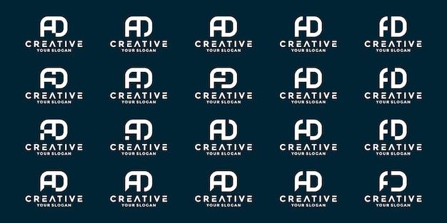 Ad 이니셜 문자 로고 디자인 세트