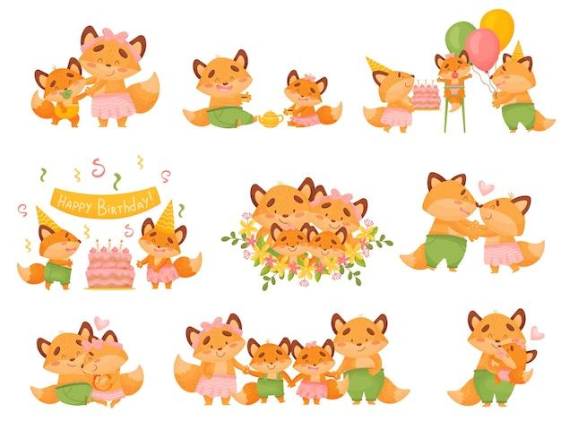 Набор семьи милых мультяшных лисиц