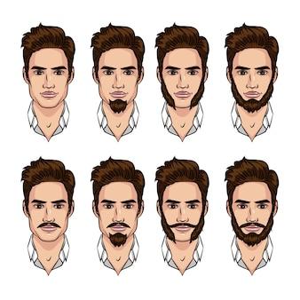 異なるスタイルのひげと口ひげを持つ男のセット