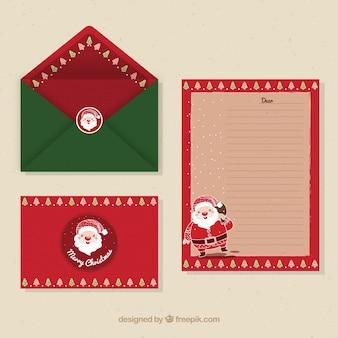 手紙と封筒のテンプレートのセットとサンタクロース
