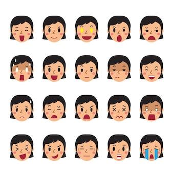 다른 감정을 보여주는 여자 얼굴의 집합