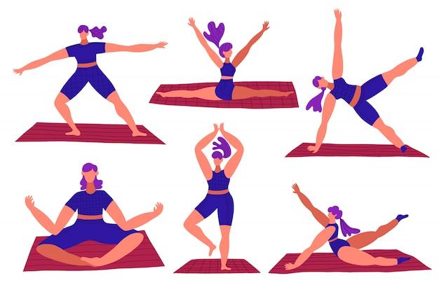 Набор молодой женщины делают йоги в разных позах. фитнес спорт концепция.