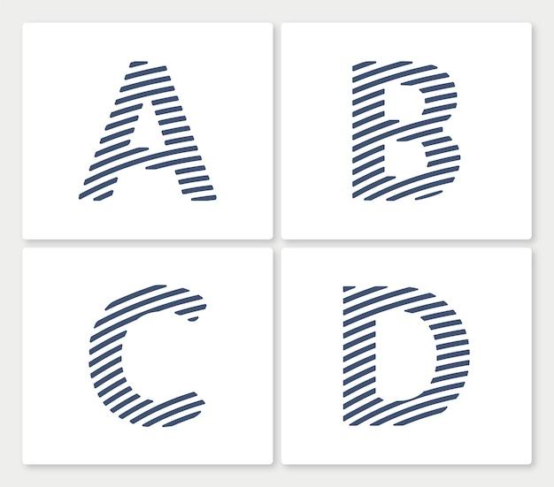 Abc線画ミニマリストクリエイティブロゴテンプレートのセット