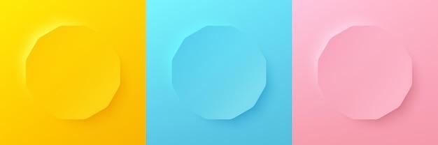 製品の表示のための抽象的な3d明るい黄青とピンクのパステルカラーの六角形フレームのセット