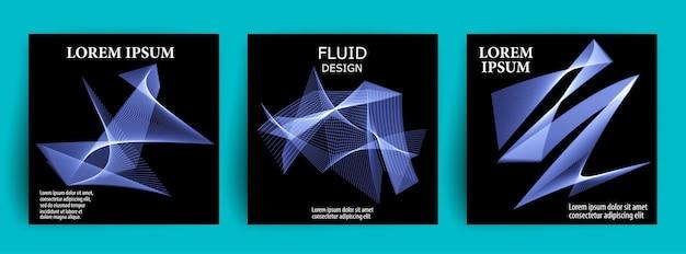 Набор абстрактных 3d жидких форм. дизайн потока.