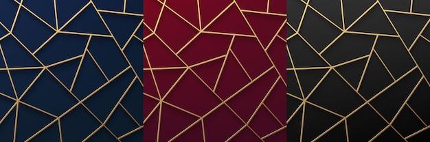 青赤と黒の背景に抽象的な3d豪華な金色の幾何学的なポリゴンストライプラインのセット