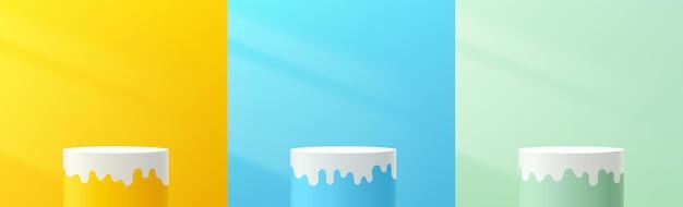 추상 3d 파스텔 노란색 파란색 녹색 실린더 받침대 또는 흰색 유체 모양의 스탠드 연단 세트