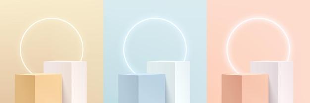 추상 3d 분홍색, 노란색, 파란색 및 흰색 큐브 받침대 또는 조명 원 네온이 있는 스탠드 연단 세트. 파스텔 최소한의 장면 모음입니다. 제품 디스플레이 프레젠테이션을 위한 벡터 렌더링 플랫폼입니다.