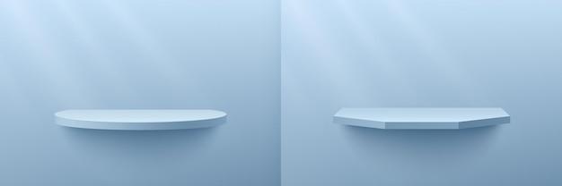 파스텔 최소 장면이 있는 추상 3d 렌더링 밝은 파란색 기하학적 선반 세트