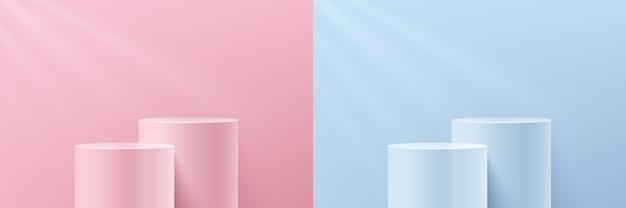 ピンクとブルーのパステルカラーの壁のシーンに抽象的な3d透明ガラスシリンダー台座表彰台のセット