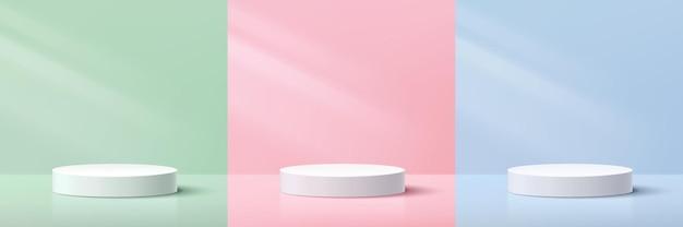 파스텔 그린 블루 핑크 최소 벽 장면에 추상 3d 흰색 실린더 받침대 세트