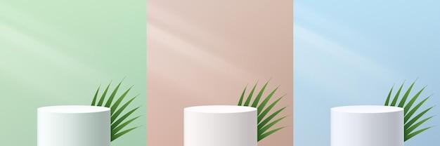 Набор абстрактных 3d подиум пьедестала белого цилиндра с листьями и зелеными бежево-синими стенами