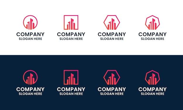 Набор абстрактных и современных зданий, архитектуры, шаблон дизайна логотипа недвижимости