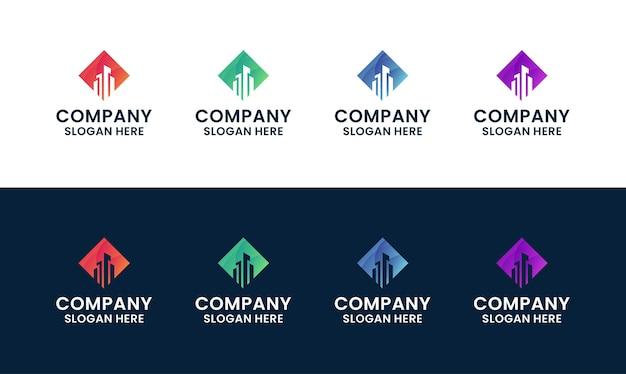 Набор абстрактного и современного здания, архитектуры, шаблона логотипа недвижимости
