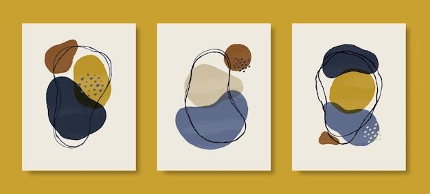 Набор абстрактного искусства фона в модном минималистском стиле. векторная рисованная иллюстрация из органических форм и линий в пастельных тонах для настенных художественных принтов, обложек, упаковки, историй в социальных сетях