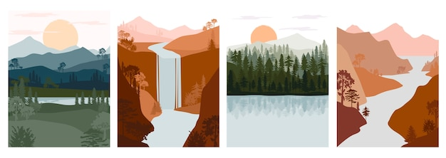 抽象的な秋の風景のセットです。森の動物、山脈、湖、川のシルエットテンプレートと針葉樹の丘