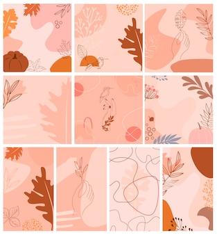 Набор абстрактного фона с осенними элементами, формами и растениями в стиле одной линии