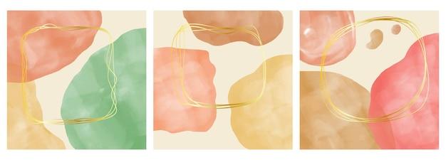 抽象的な背景のセットです。はがき、ソーシャルメディアバナーまたはパンフレットカバーデザインの背景のために手描きのミニマルな幾何学的なフレーム。ベクトルイラスト