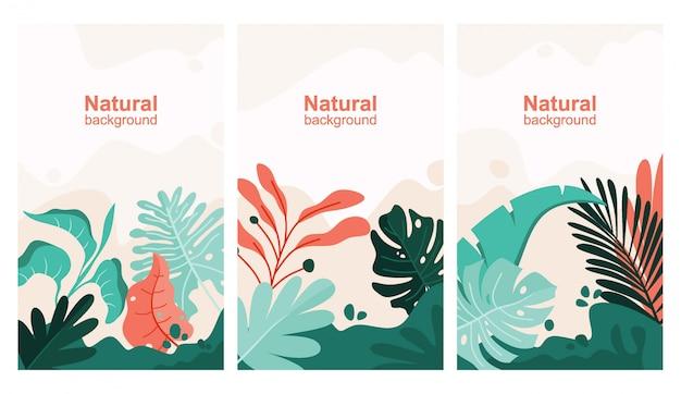 텍스트, 잎 및 식물 복사 공간으로 추상적 인 배경 설정합니다.