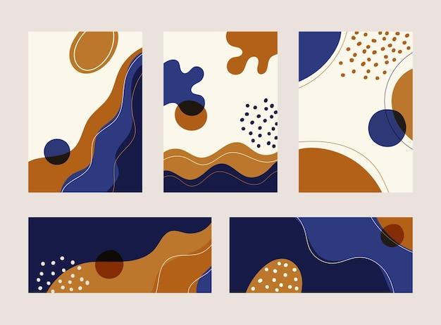 Набор абстрактных баннеров, обложки брошюры, плакат современной формы волны линии с рисованной на белом фоне. современная коллекция коллажей в форме органической формы. векторная иллюстрация